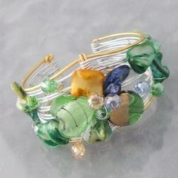 Two-Tone Green Seashell Floral Cuff Bracelet (Philippines)