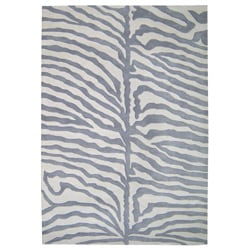 Alliyah Handmade?Safari Grey New Zeeland Blend Wool Rug (6' x 9')
