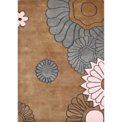 Handmade Brown Sugar New Zealand Blended Wool Rug (5' x 8')