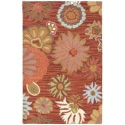 "Handmade Blossom Red Wool Accent Rug (2'6"" x 4')"