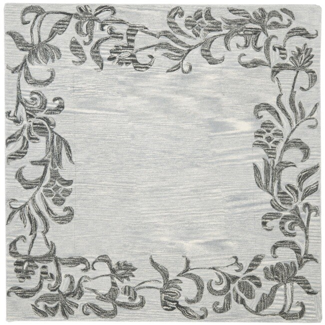 Safavieh Handmade New Zealand Wool Floral Border Silver Rug (6' Square)
