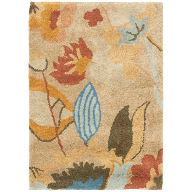 Safavieh Handmade Soho Flora Beige New Zealand Wool Rug (2' x 3')