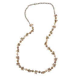 Alexa Starr Gold-tone Faux-pearl Antiqued Long Cluster Necklace