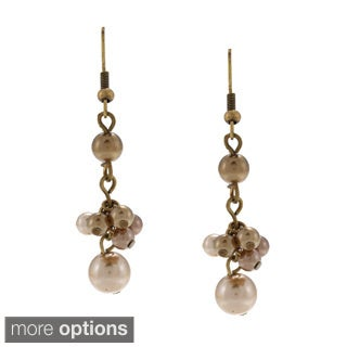 Antique-finished Alexa Starr Faux Brown Pearl Dangle Earrings