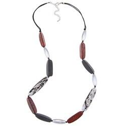 Alexa Starr Silvertone Long Acrylic Bead Necklace