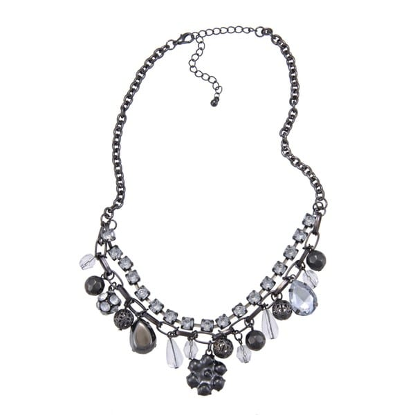 Alexa Starr Black-plated Short Glitz Charm Bib Necklace