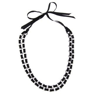 Alexa Starr Silvertone Chain and Black Ribbon Necklace
