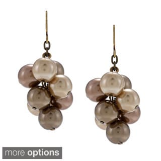 Alexa Starr Antiqued-goldtone Brown Faux-pearl Cluster Dangle Earrings