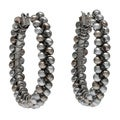 Alexa Starr Silvertone Faux Pearl Hoop Earrings