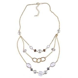 Alexa Starr Three-Row Faux Pearl Bib Necklace