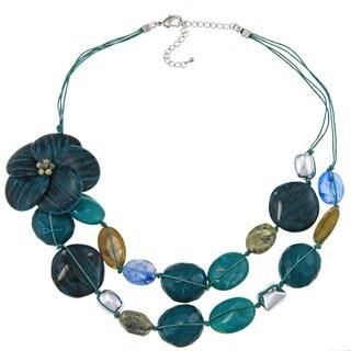 Alexa Starr Faux Stone Two-row Flower Bib Necklace