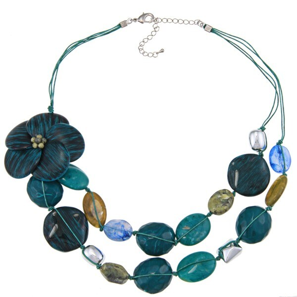 Alexa Starr Faux Stone Two-row Flower Bib Necklace