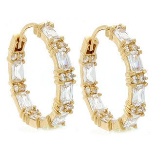 NEXTE Jewelry 14k Gold Overlay Emerald-cut Cubic Zirconia Hoop Earrings