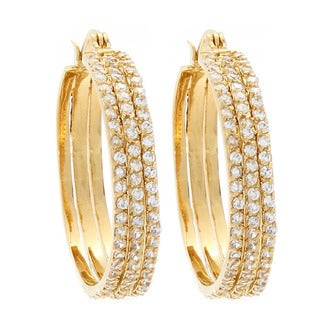 NEXTE Jewelry 14k Gold Overlay Cubic Zirconia Triple Hoop Earrings
