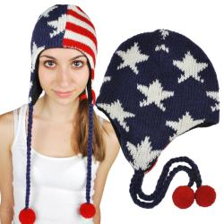 Stars and Stripes Ear-flap Wool Hat (Nepal)