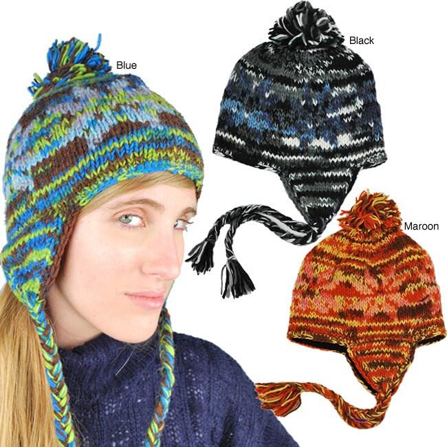 Wool Multicolor Fleece-Lined Earflap Hat with Top Pom (Nepal)