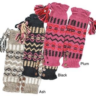 Hand-knit Women's Buttoned Legwarmers (Nepal)