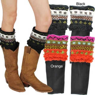 Hand-knit Women's Colorful Boot Slips (Nepal)
