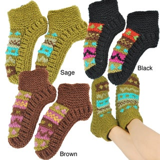 Hand-knit Women's Colorful Booties (Nepal)
