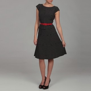 Anne Klein Women's Black/ Ivory Classic Dot Belted Dress