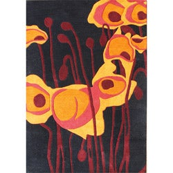 Handmade Tufted Black Tulip Wool Rug (8' x 10')