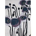 Hand-tufted Grey Floral Wool Rug (5' x 8')