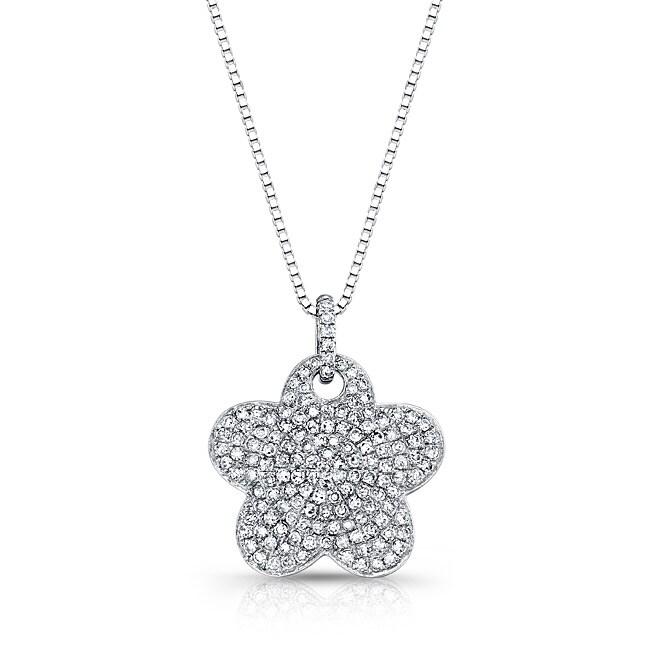 Auriya 14k White Gold 1/2ct TDW Diamond Flower Necklace (G-H, I1-I2)