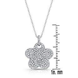 Auriya 14k White Gold 1/2ct TDW Diamond Flower Necklace (G-H, I1-I2)