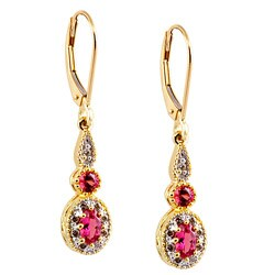 Michael Valitutti 14k Gold Sapphire and 1/6ct TDW Diamond Earrings (I-J, I1-I2)