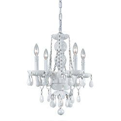 Transitional 4-light White Crystal Chandelier