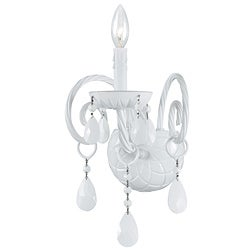 Transitional 1-light White Crystal Wall Sconce