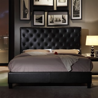 TRIBECCA HOME Sophie Tufted Dark Brown Bonded Leather Queen-sized Upholstered Platform Bed