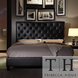 TRIBECCA HOME Sophie Tufted Dark Brown Faux Leather Queen-size Platform Bed