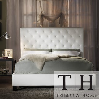 TRIBECCA HOME Sophie Tufted White Faux Leather Queen-size Platform Bed