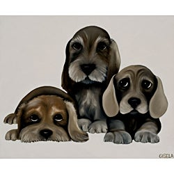 Gisela Pferdekamper 'Wirehair Dachshunds' Gallery-wrapped Canvas Art