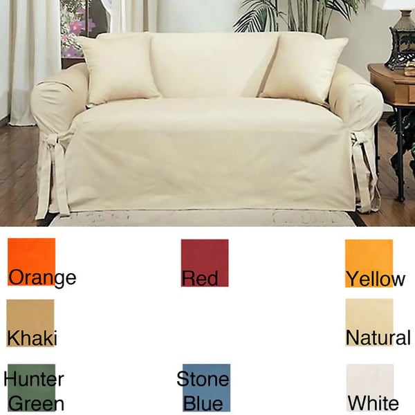 Cotton Duck Casual-Fit Loveseat Slipcover