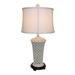 White Pierced Vase Porcelain Table Lamp