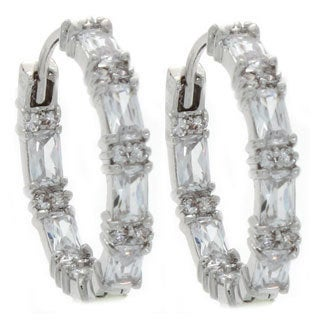 NEXTE Jewelry Rhodium-plated Emerald-cut Cubic Zirconia Hoop Earrings