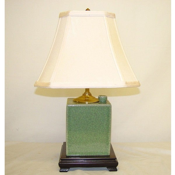Celadon Crackle Porcelain Box Table Lamp