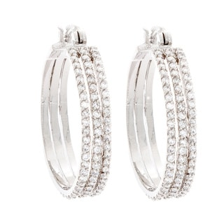 NEXTE Jewelry Rhodium-plated Cubic Zirconia Triple Hoop Earrings
