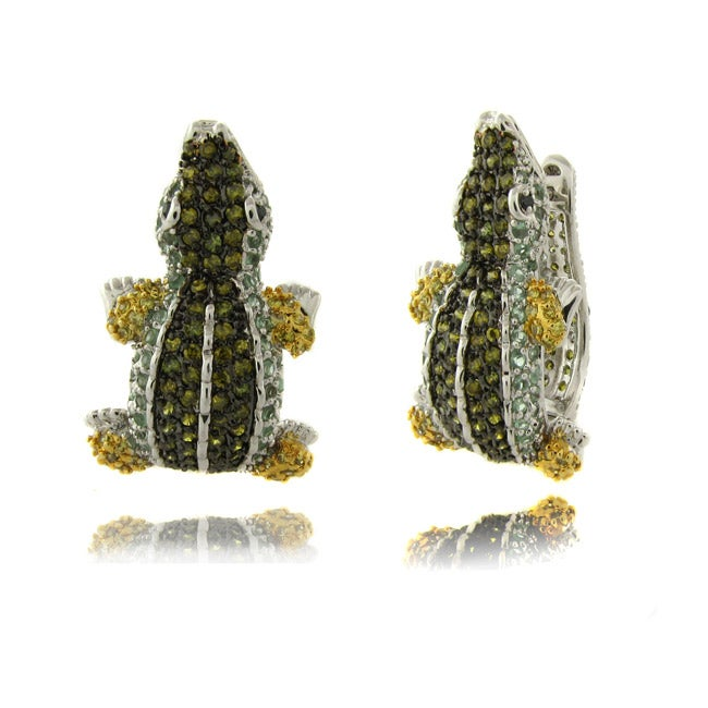 Dolce Giavonna Silverplated Cubic Zirconia Alligator Hoop Earrings