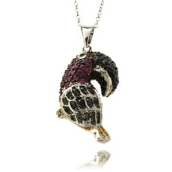 Dolce Giavonna Silvertone Red and Black Cubic Zirconia Toucan Necklace