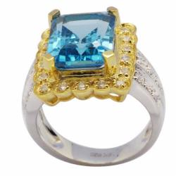 De Buman 18k Gold and Sterling Silver Blue Topaz and Zircon Ring