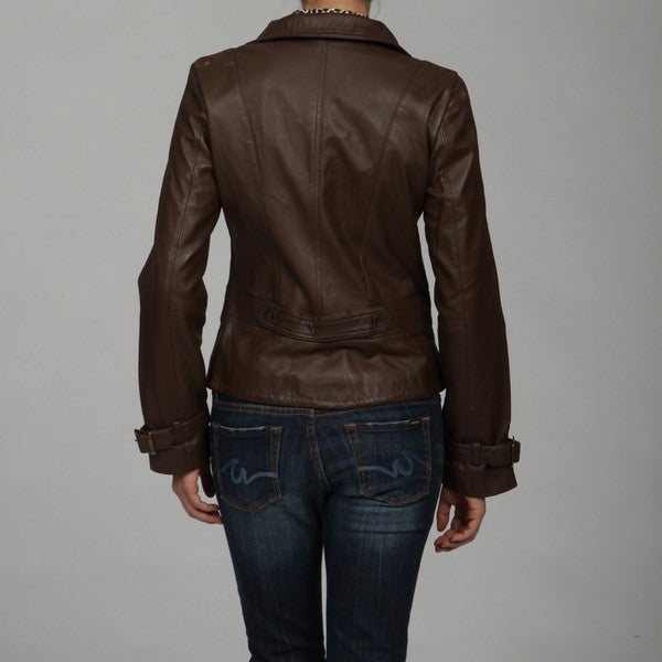 Kenneth Cole Women's Walnut Leather Jacket - Overstock Shopping