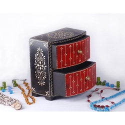 Black and Red Handmade Wooden Jewelry Box (India)