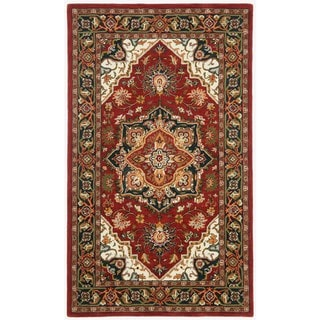 Hand-tufted Heriz Red Wool Rug (5' x 8')