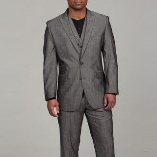 English Laundry Men's Grey Sharkskin Pattern Three-piece Suit