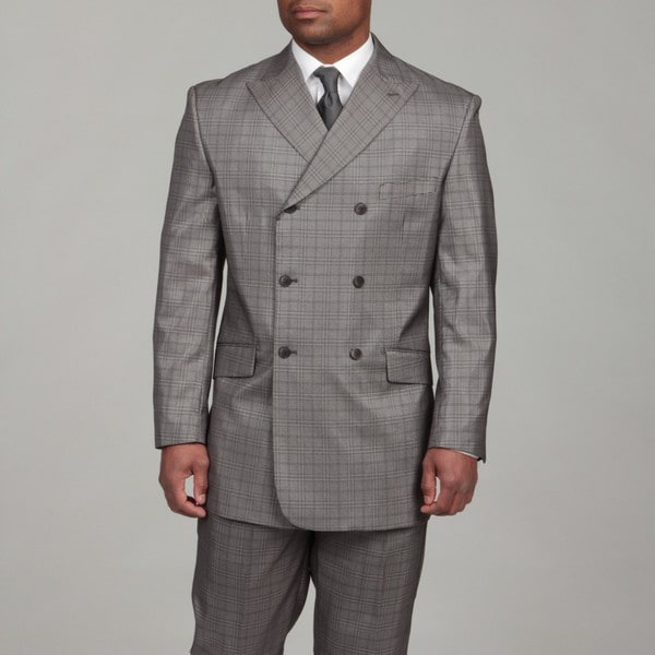 English Laundry Men's Black/ Grey Double Breasted Suit