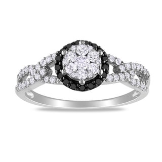 Miadora 10k White Gold 1/2ct TDW Black and White Diamond Ring (G-H, I2-I3) with Bonus Earrings