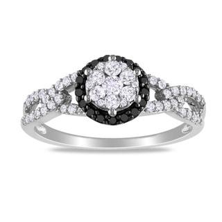 Miadora 10k White Gold 1/2ct TDW Black and White Diamond Ring (G-H, I2-I3)
